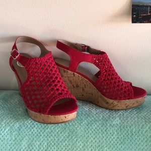 Worn Once- SO size 8.5 Red Cork Wedge Heels